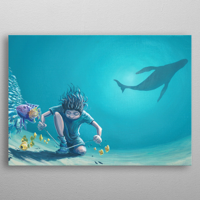 Boy ties his shoe underwater in a dream. Painted with acrylic on canvas.  metal poster
