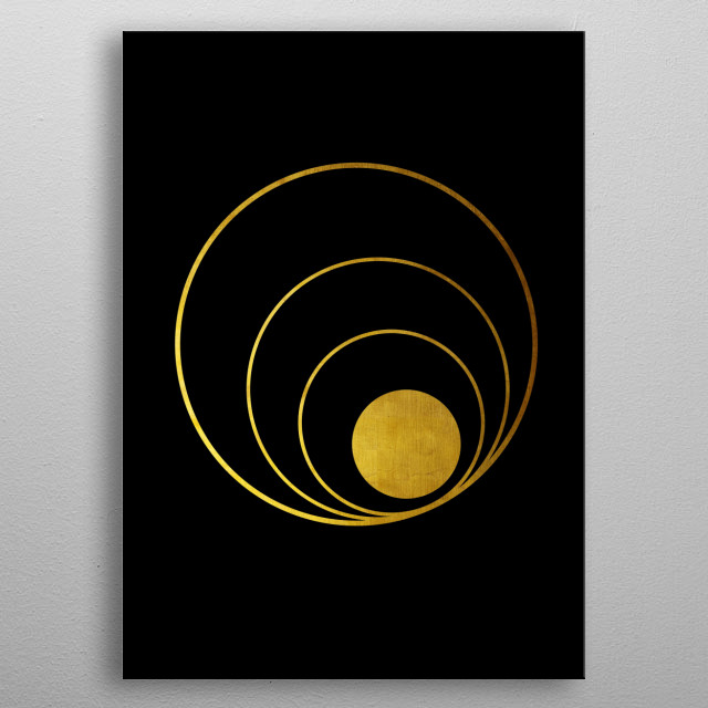 Abstract composition with golden lines. Gold disk as a planet with different orbits. metal poster