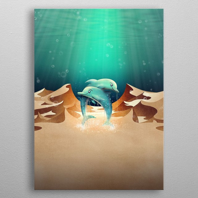 Sand dunes underwater? Dolphins in the desert? This turquoise surreal digital painting goes out to all atlantis and ocean lovers.  metal poster