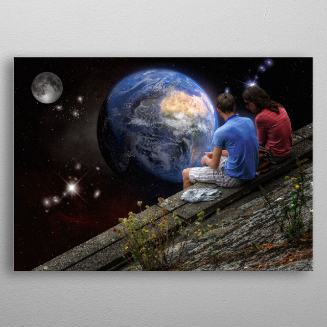 Human being had to quit Earth. Two people are looking to it sadly metal poster