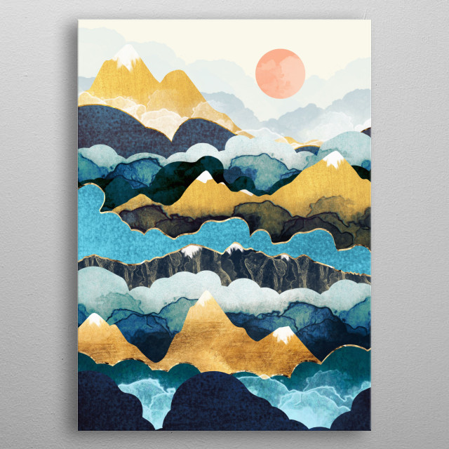 Abstract landscape of mountain peaks with clouds, blue, teal, gold and copper metal poster