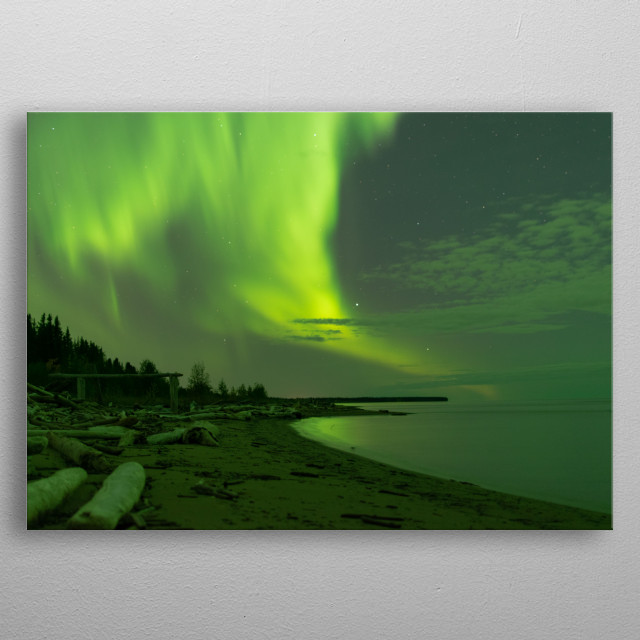 An explosive aurora borealis over the Great Slave Lake, near Hay River, NWT, Canada. metal poster