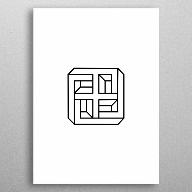 Impossible geometry minimal artwork  metal poster