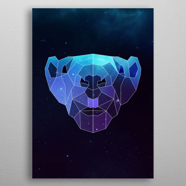 Galaxy groundhog geometric animal is a combination of low poly and double exposure art of an animal and galaxy image. metal poster