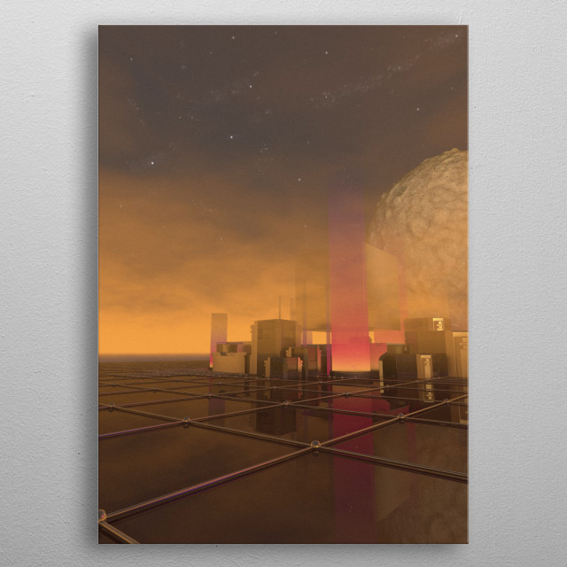 Illustration of a representation of our society in 2060 inspired by The Martian Movie metal poster