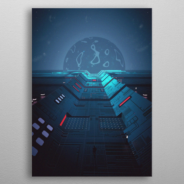 Illustration of a man in a sci-fi world trying to find some kind of Utopic World. Inspired by Tron Legacy movie metal poster