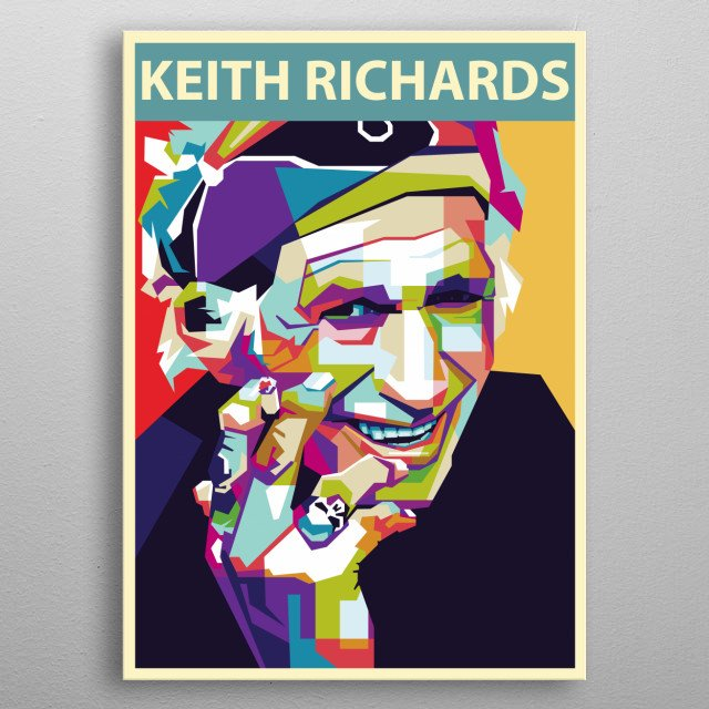 Keith Richards  as a guitarist and founder member of the Rolling Stones metal poster