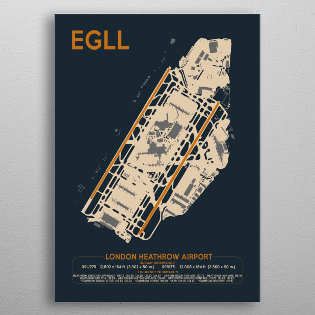 Airport Art design for London's Heathrow airport. Includes runways, taxiways, buildings and data box at bottom with runway and frequencies.  metal poster
