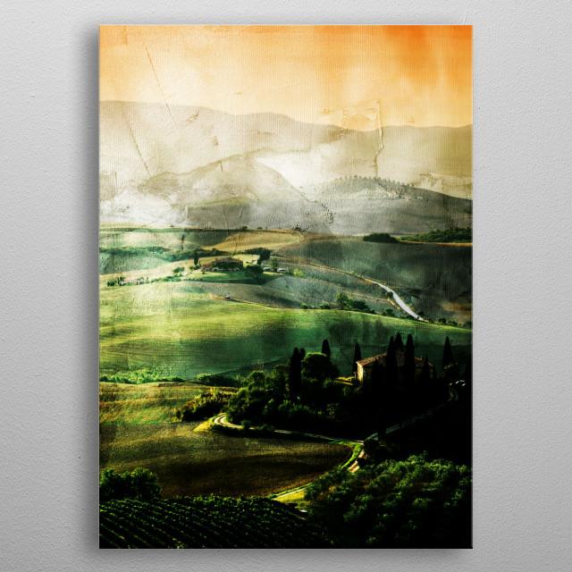 Italian Tuscany landscape metal poster