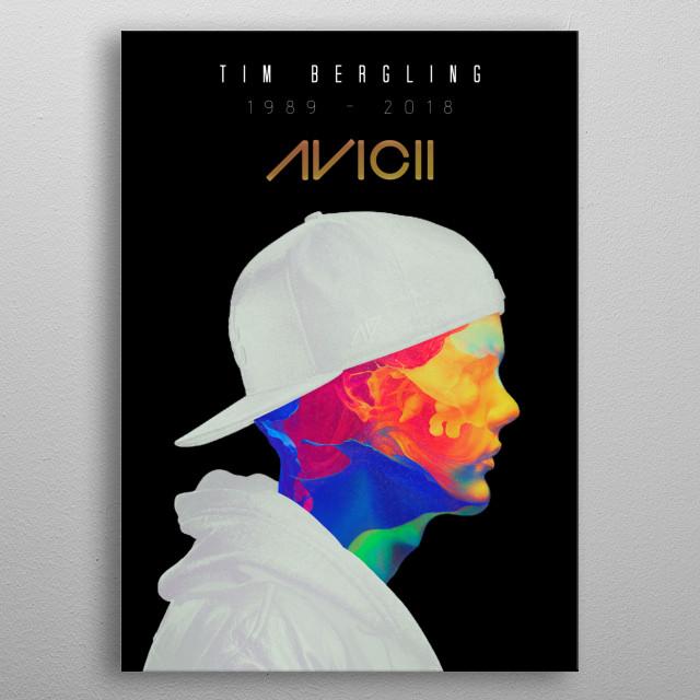 Illustration of the Swedish musician Avicii metal poster