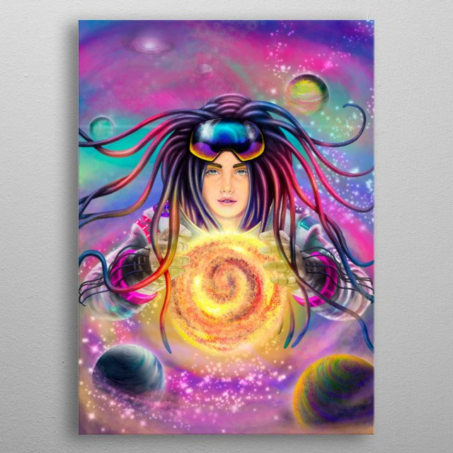 the brightness and magic of women in the universe metal poster