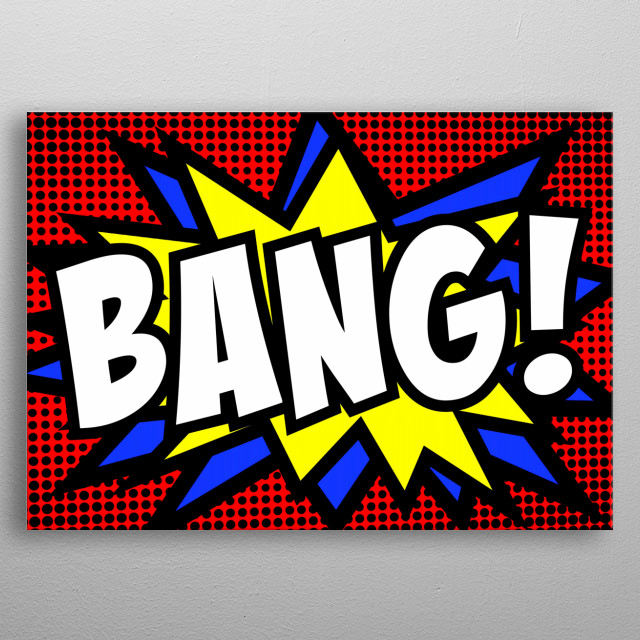 A comic strip cartoon, with the word Bang appearing. Halftone background, star shape effect.  metal poster