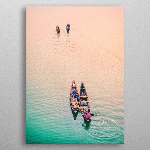 Four long boats coasting across calm ocean waters tinged with a gradient of green to orange. metal poster