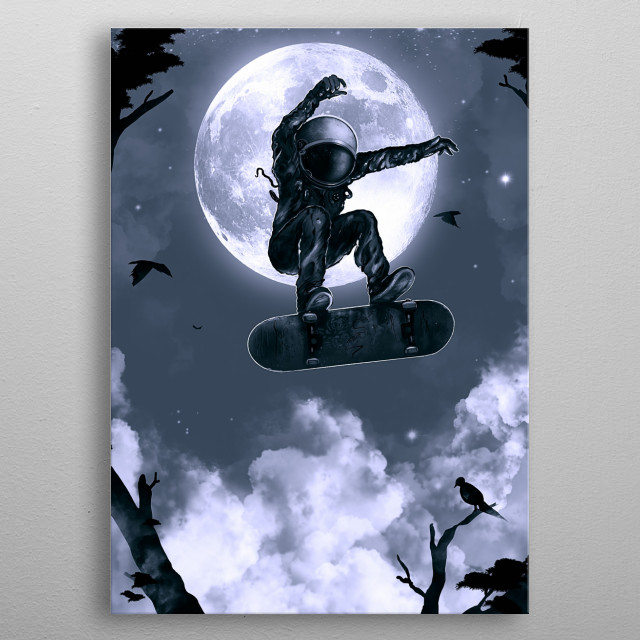 Astronaut about to space flip. metal poster