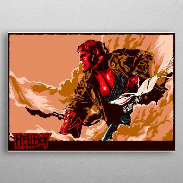 Poster inspired by the big red hellboy of the comic house dark horse metal poster