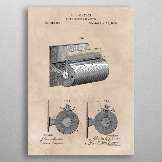 patent Johnson paper holder and cutter 1885 metal poster