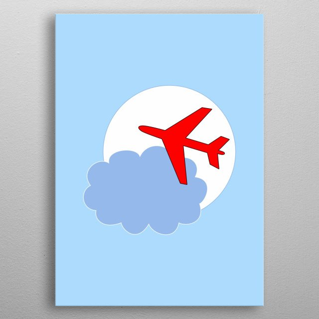 Red plane and cloud  metal poster
