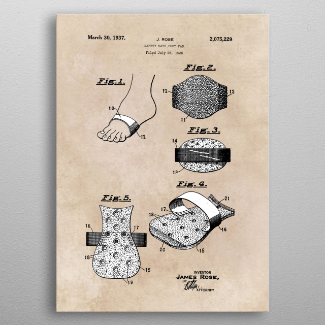 patent safety bath foot pad 1936 metal poster