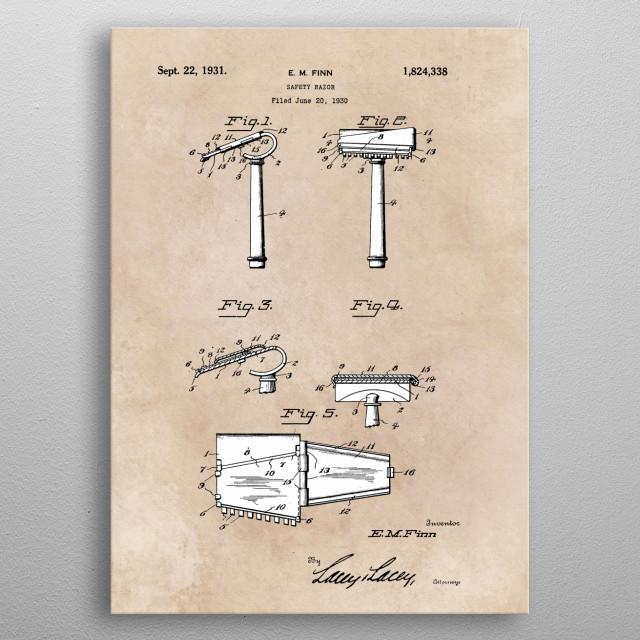 patent Finn Safety razor 1930 metal poster