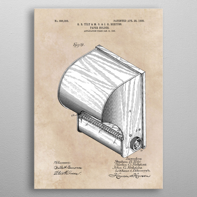 patent Tily and Rehfuss Paper holder 1908 metal poster
