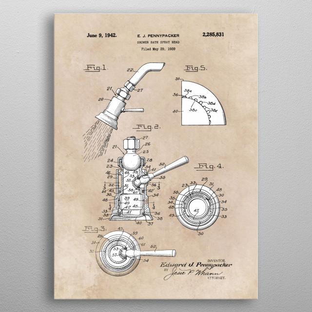patent Pennypacker Shower bath spray head 1939 metal poster