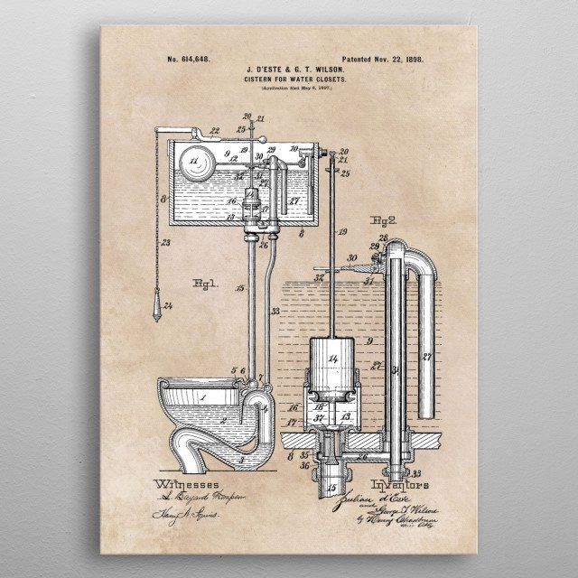 patent Deste and Wilson Cistern for water closets 1898 metal poster