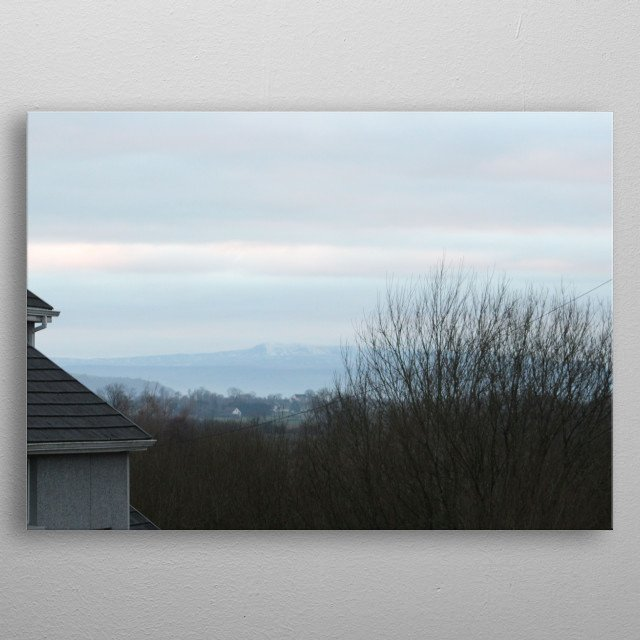 Mountains in a distant valley metal poster