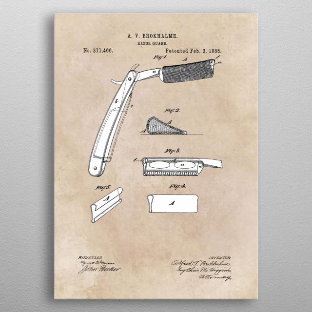 patent Brokhalme Razor Guard 1885 metal poster