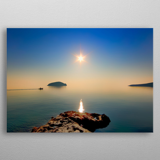 Sunrise at a Greek island, Cyclades, Serifos. metal poster