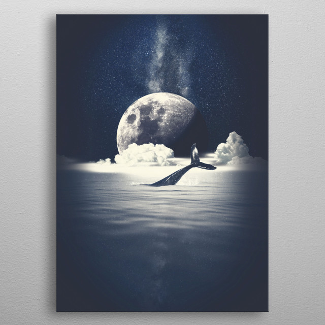 The space whale lives lonely and undisturbed in the endless deep ocean, under the vigilant look of the Great Moon and the Eternal Galaxy. metal poster