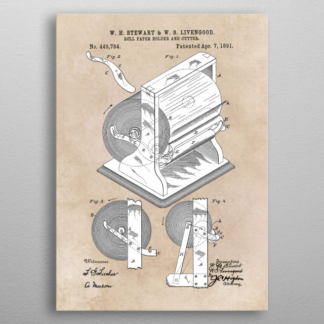 patent Stewart and Livengood Roll paper holder and cutter 1891 metal poster