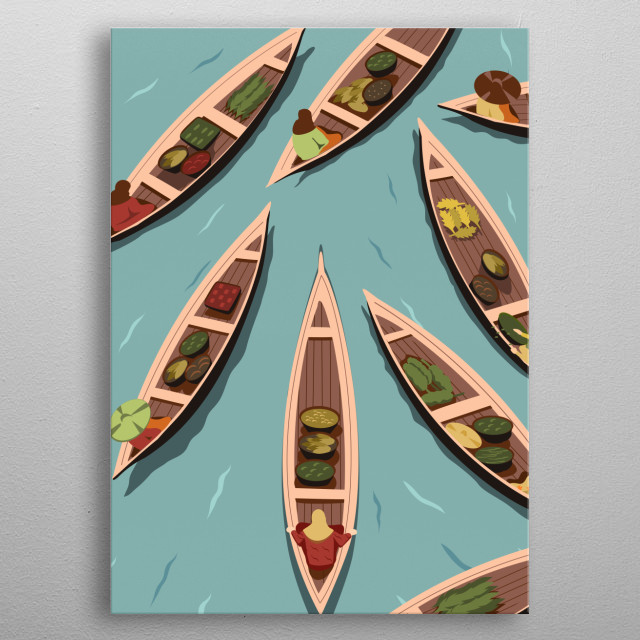 the artwork inspired by traditional floating market in Borneo island, indonesia metal poster