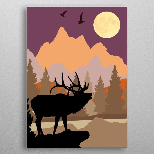 Caribou and birds near a mountain stream under a rising moon. metal poster