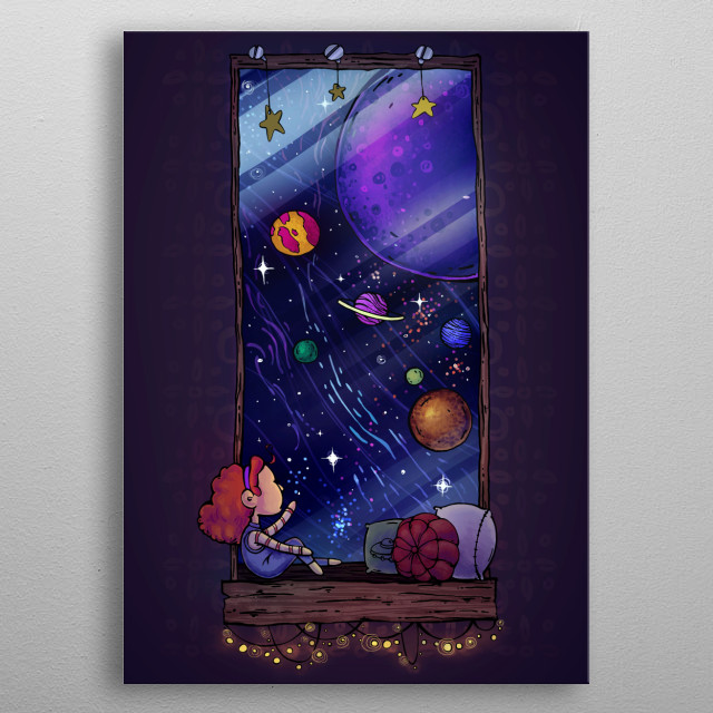 A small girl sits next to her window sill, staring at the stars.   All painted in Photoshop. metal poster