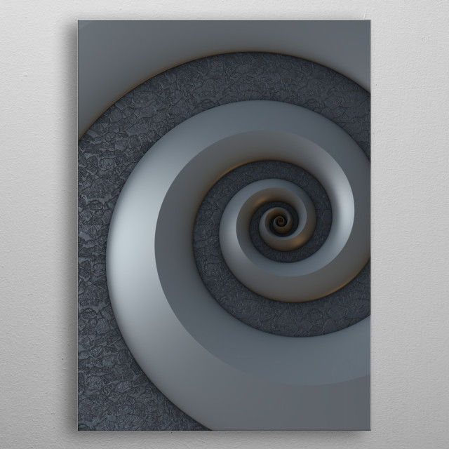Three dimensional fractal rendering of a spiral against a textured background. metal poster