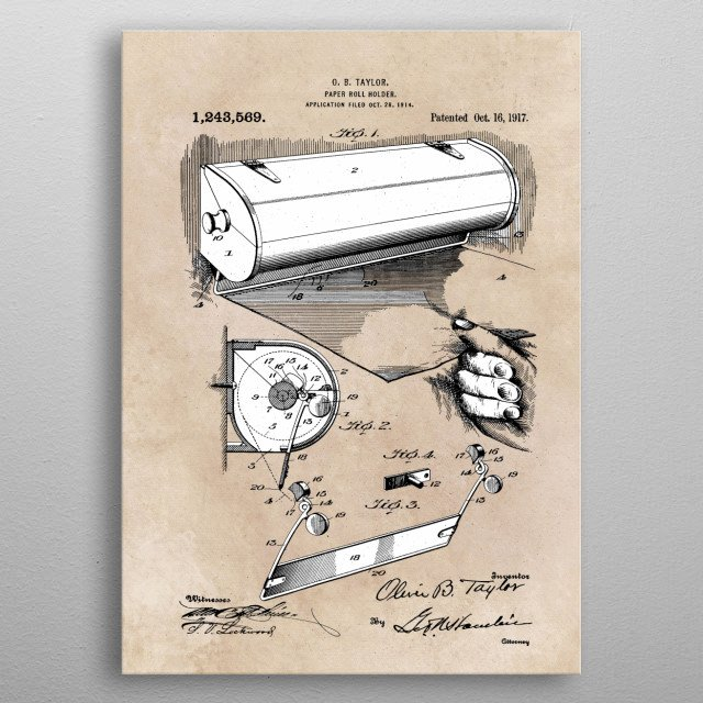 patent Taylor Paper roll holder 1917 metal poster