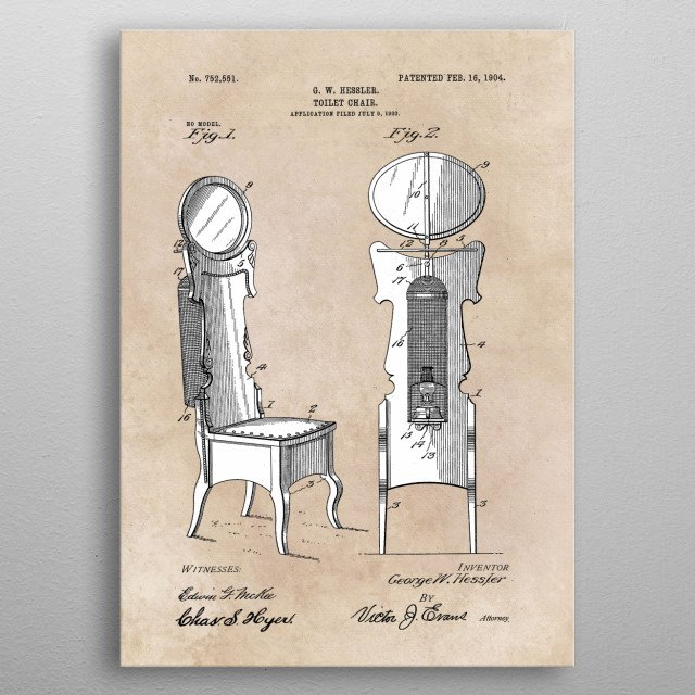patent Hessler Toilet chair 1903 metal poster