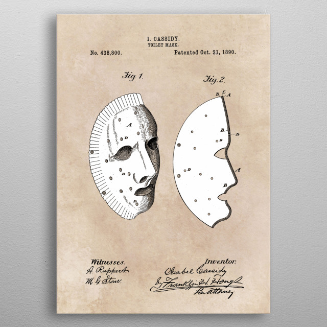 patent Cassidy Toilet mask 1890 metal poster