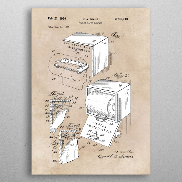 patent Soans toilet paper cabinet 1953 metal poster