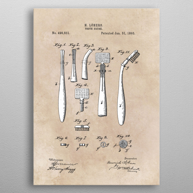 patent Lohers Toothe brush 1893 metal poster