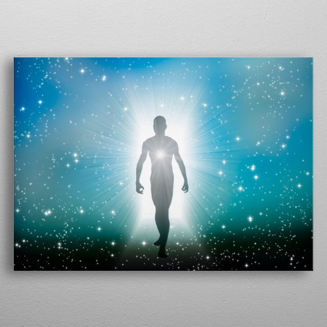 Eternal soul. Figure emerges from the space metal poster