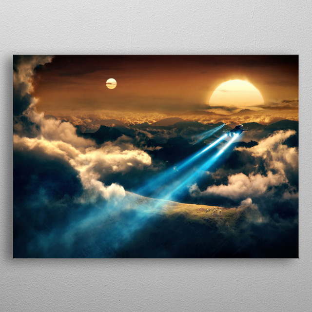 Shuttles flying into sunset in a dual star system. metal poster