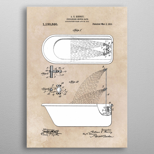 patent Kenney Curtainles shower bath 1913 metal poster