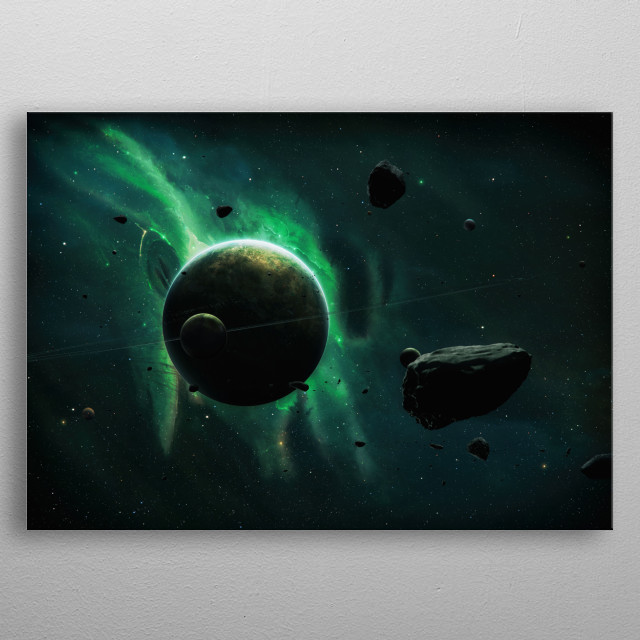 A green planet in space surrounded by asteroids and moons.  metal poster
