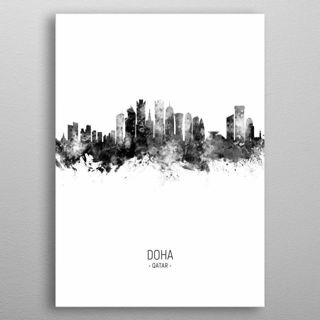 Watercolor art print of the skyline of Doha, Qatar metal poster