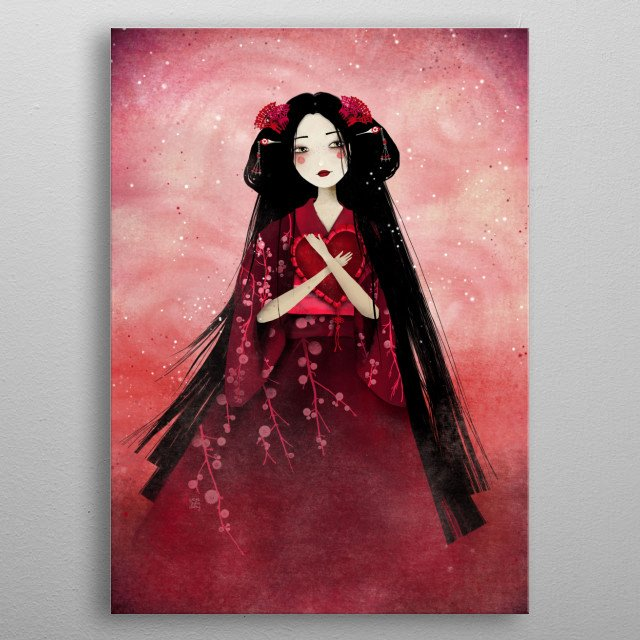 Illustration of a fairy geisha.  metal poster