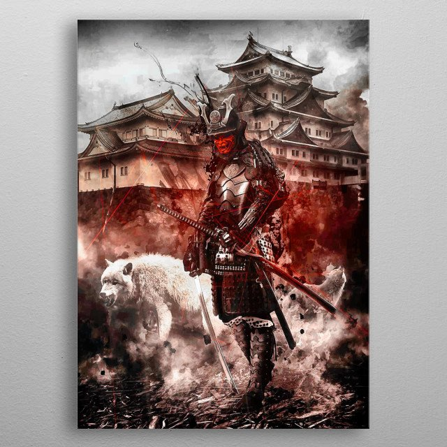 Red oni death deamon samurai in battlefield with white wolf abstract artwork metal poster