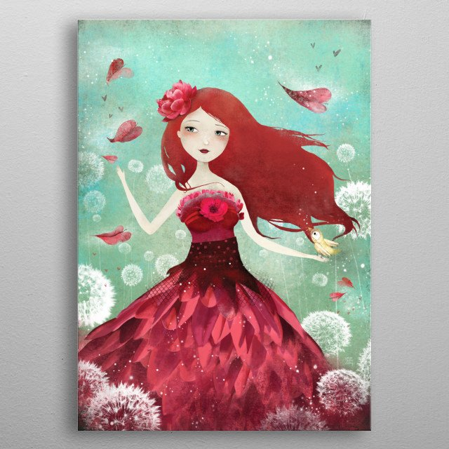 Illustration of a Flower Fairy from an enchanted world.  metal poster
