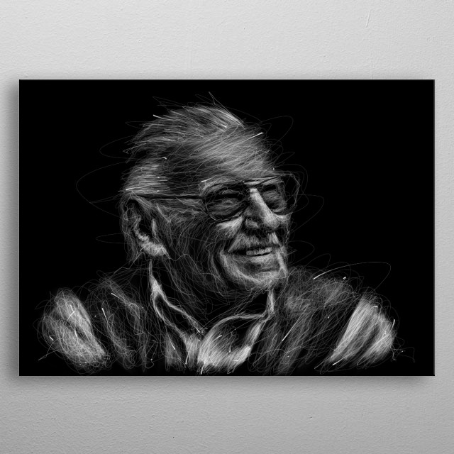 Illustration portrait of stan lee on scribble contemporary art. metal poster