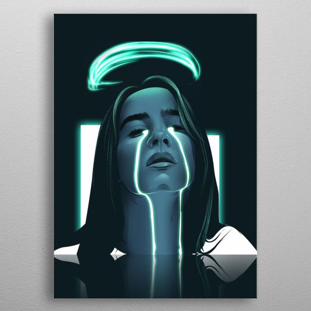 Billie Eilish Illustration in High Resolution metal poster